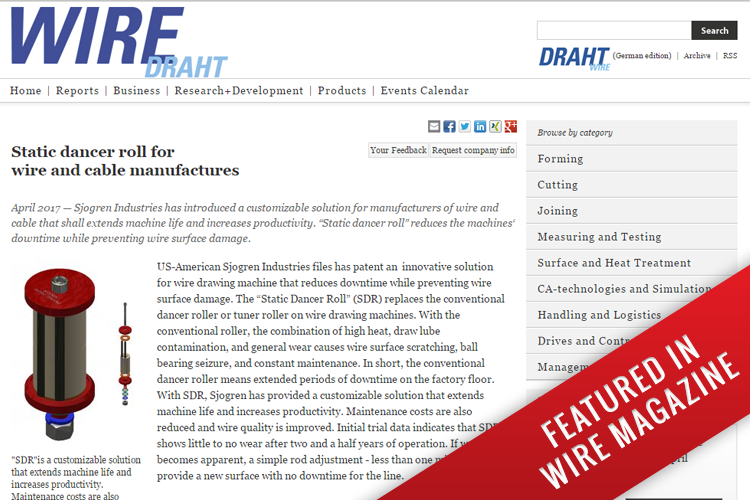 Sjogren Industries featured in Wire Magazine